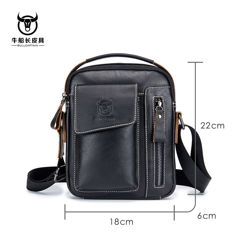 BULLCAPTAIN Genuine Leather Men Shoulder Crossbody Bags Cow Leather Fashion Handbag Brand Casual Men's Messenger Bag Black 6