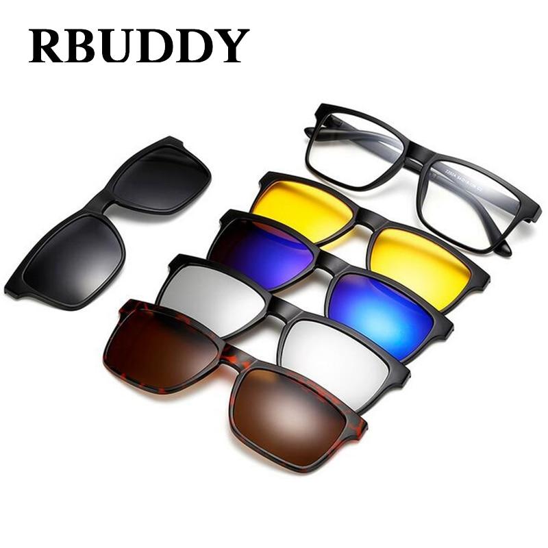 RBUDDY Magnet Syze dielli Burra Kapëse polarizuar në syze dielli Driving Square gra të pastra syzet kornizë syze për sytë e natës
