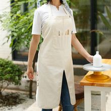 Long White Gray Canvas Crafting Painting Apron Artist Drawer Painter Smock Carpenter Potter Gardener Wood Worker Work Wear B84