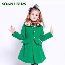 kids girls winter Woolen coat long thick outerwear green Patchwork leopard Collar Windbreaker for baby girls