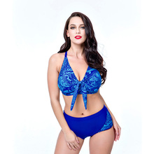 Large size swimsuit for women V neck bikini set sexy plus size swimwear female printed high waist swimming suit push up swim plus size halter neck printed high waist bikini set for women