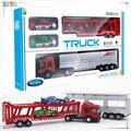 1: 64 Diecast modelo de Aleación de coche de juguete vehículos grandes de material metálico de aleación camión de juguete coche de carreras transporter con 2 unidades de coches pequeños C1017