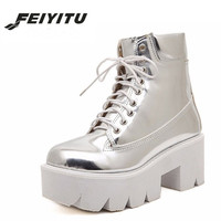 feiyitu 2018 Lace Up High Heels Women Punk Style Ankle Boots,Thick Bottom Platform Shoes,European Motorcycle Leather Boots