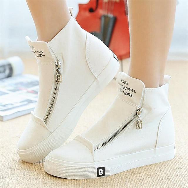 Высокие Верхние Женщины Повседневная Обувь Мода Белый Клинья Холст Обувь Женский Корзина Молнии Твердые Кроссовки Chaussure Femme