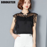 BOBOKATEER Fashion Summer Top Chiffon Blouse Shirt Women Shirts Black Office Womens Tops And Blouses Camisa