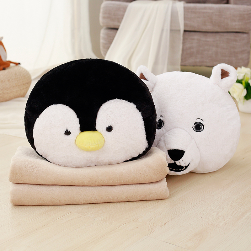 Lovely Cartoon Animal Plush Pillow Hand Warmer Staffed Penguin Polar Bear Toy Doll Cute Soft Pillow Blanket Cushion Christmas 55cm cute cartoon lilo and stitch warm hand pillow plush toy doll stuffed pillow cushion toys dolls warm hands stitch kids toy