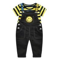 2018 Autumn baby boys girls striped yellow t shirt smiley face bib pant set kids casual clothes fashion children's outwear 18M06