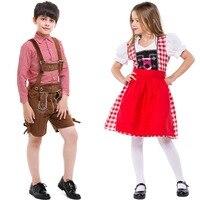 Children Girl Oktoberfest Costume Plaid Lederhosen Bavarian German Beer Festival Fantasia Party Costume For Kids Boy Halloween