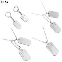 Военная армия тактическая гравировка имя ID метки карты кулон человек ожерелье и подвески нержавеющая сталь Мода брелок для мужчин ювелирные изделия
