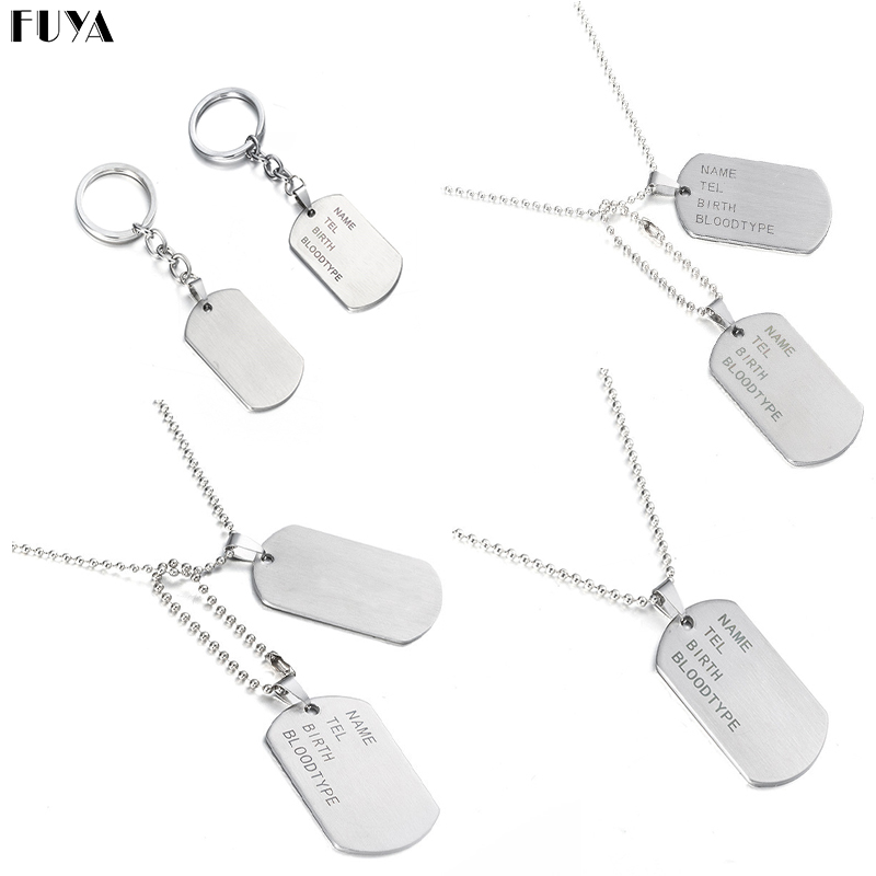 Military Army Tactical Engraving Name ID Tags Cards Pendant Man Necklace&Pendants Stainless Steel Fashion Keychain Men Jewelry