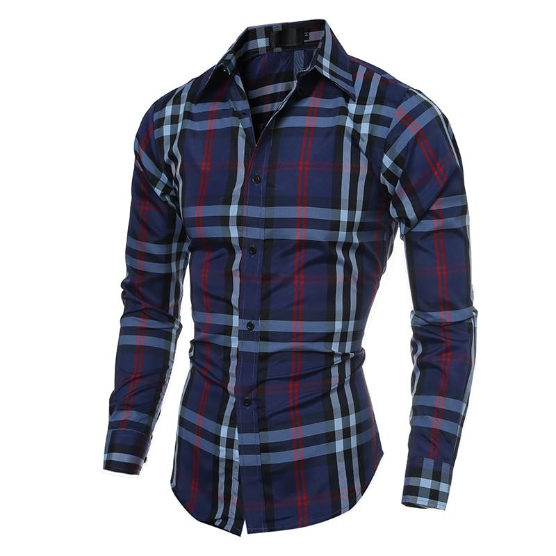 Casual Cotton Men Shirts Long Sleeve Plaid Men's Shirt Male Slim Fit Dress Shirt camisa social masculina Turn-down Collar