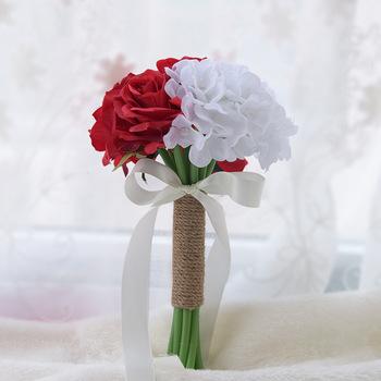 Biała róża kwiaty ślubne bukiety ślubne Buque De Noiva bukiet De Mariage sztuczne bukiety ślubne akcesoria ślubne tanie i dobre opinie Bukiet ślubny Poliester D532 0 15 LBKKC DRESSES