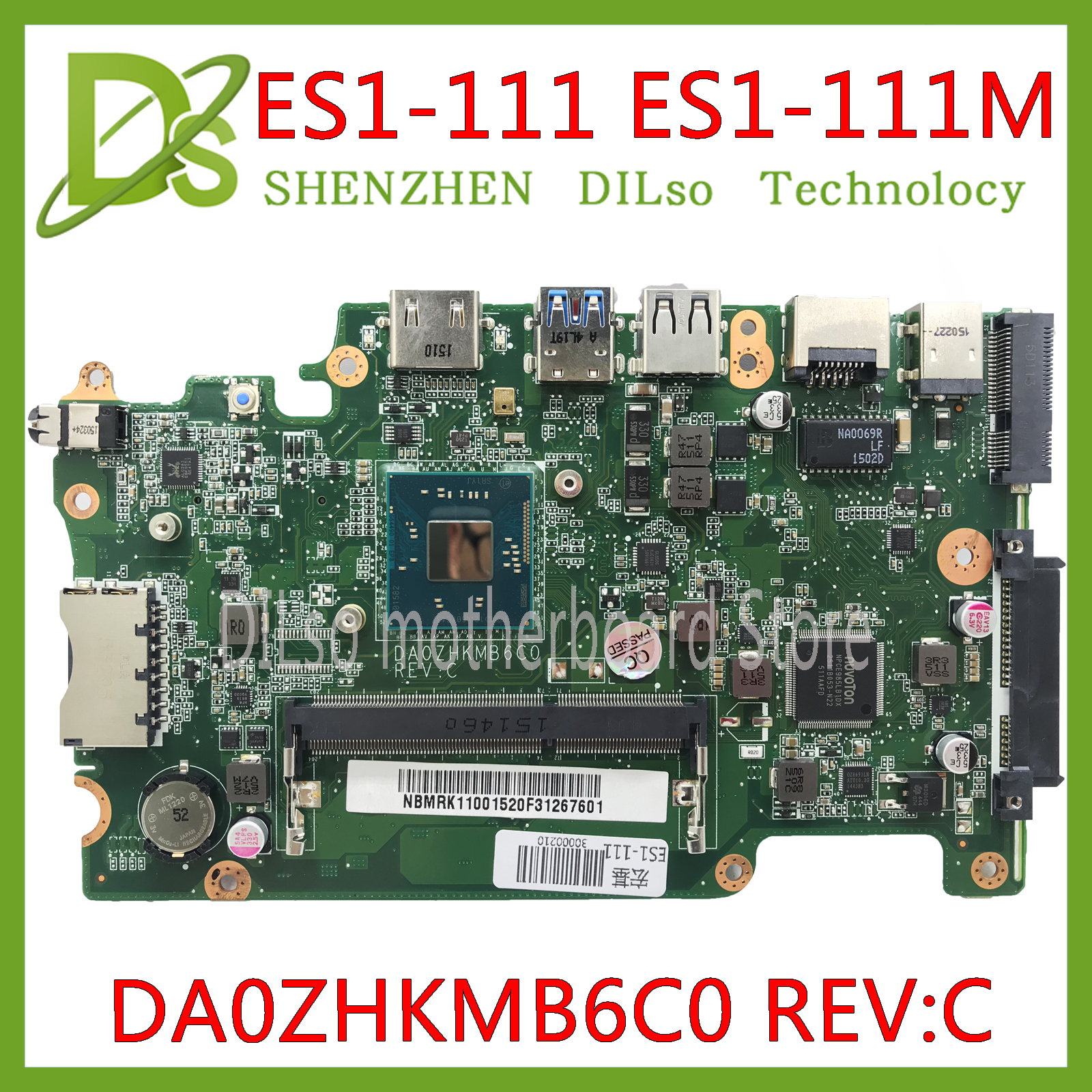 KEFU DA0ZHKMB6C0 Mainboard For Acer Aspire ES1-111 E3-112 V3-112P Laptop Motherboard DDR3 Celeron Processor Work 100% Original