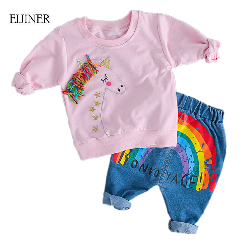 Rainbow Baby Boys Clothes 2018 Autumn Tassel Long Sleeved T-shirts+Pants Newborn Baby Girl Clothes Kids Girls Clothes Suit