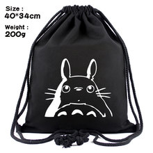 Hayao miyazaki totoro black carbon head canvas backpack Draw string beam pocket Outdoor sports leisure bag