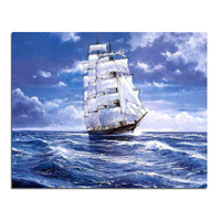 Sailing At Sea 50x40 Diamond Embroidery Diy Diamond Square Drill Rhinestone Pasted Crafts Needlework Home Decoration