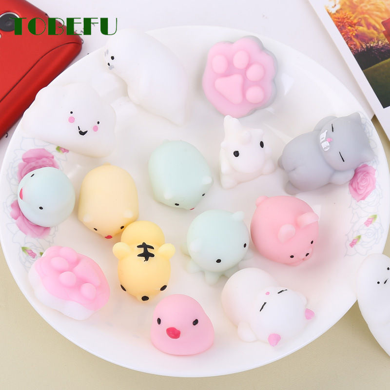 TOBEFU Mini Change Color Squishy Cute Cat Antistress Ball Squeeze Rising Soft Sticky Stress Relief Funny Gift Toys
