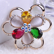 Colares Bijuterias Big Cat Eye Flowers Esmalte De unhas Broches Hijab Pins Pin up Broaches Brooch