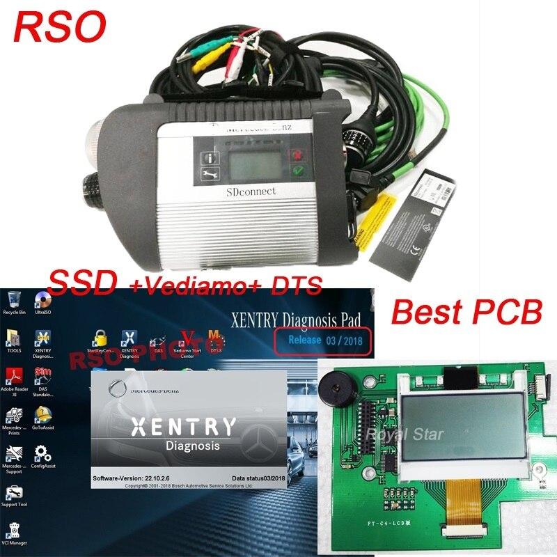 Одежда высшего качества mb star c4 2018 SD соединение c4 с программным обеспечением V2018.03 SSD с Vediamo 05,01 DTS диагностический сканер для автомобилей