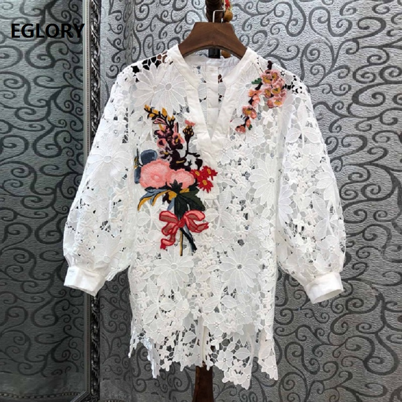 High Quality Fashion Lace Blouse 2019 Spring Summer Women White Black Lace Crochet Embroidery Lantern Sleeve Vintage Tops Female