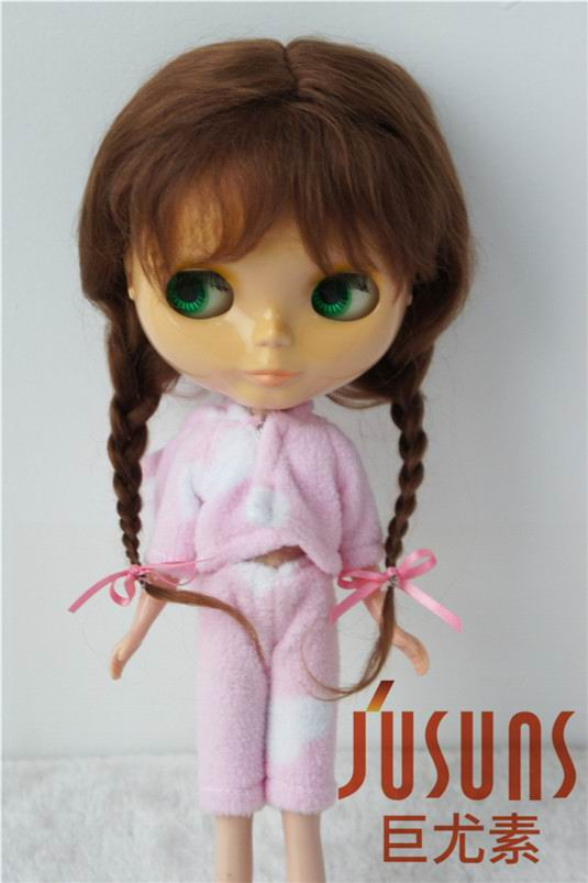 купить JD2031 100% Long Angola mohair Lovely Anna braids BJD doll wigs size 10-11 inch Doll accessories дешево