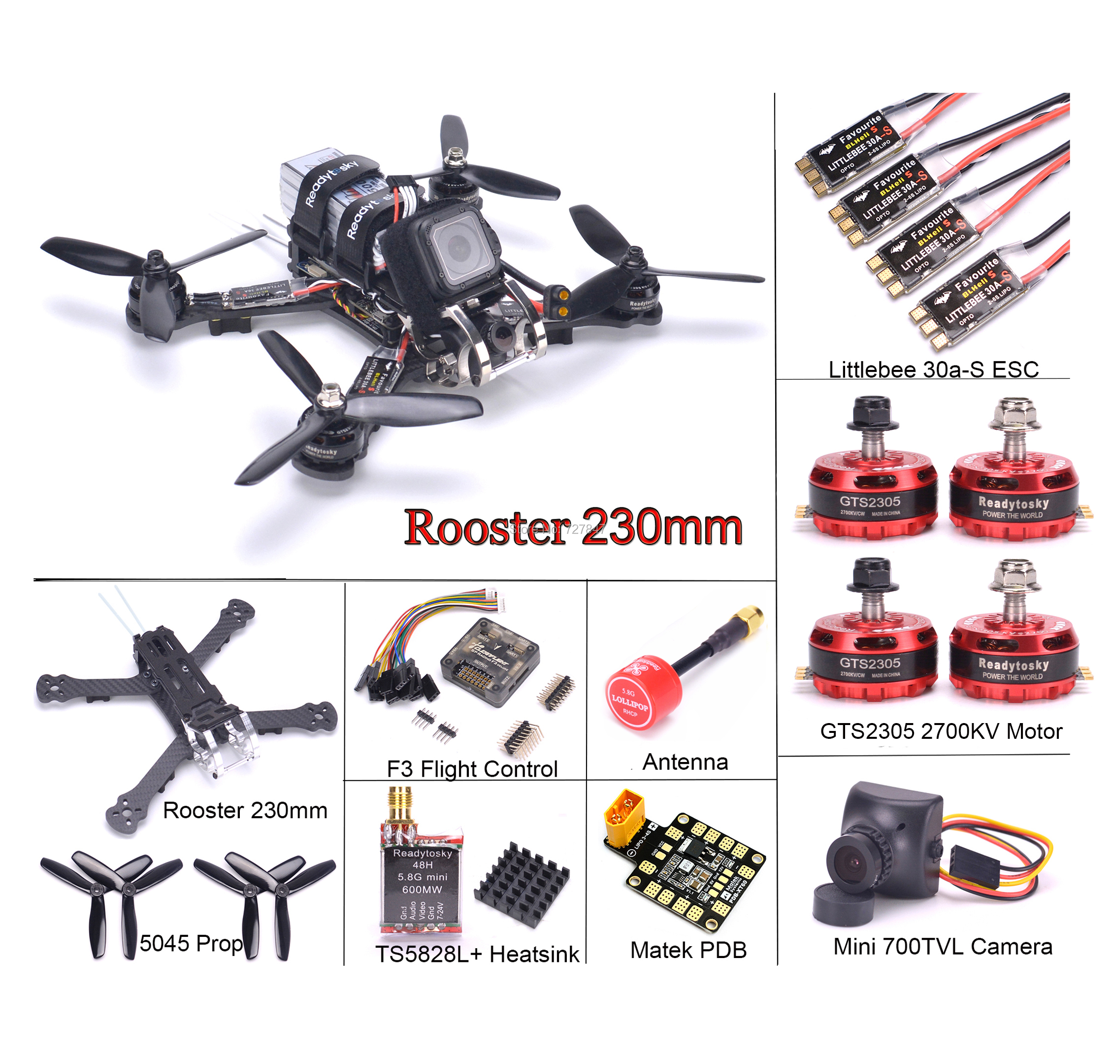 Rooster 230 Carbon Fiber Quadcopter Kit F3 flight controller GTS2305 2700KV Motor Littlebee 30A S For