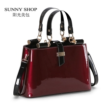 SUNNY SHOP High quality Aristocratic women messenger bags shiny patent leather shoulder bag fashion wedding party bag  45ZA