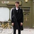 VIISHOW Длинные Траншеи Пальто Мужчины Однобортный Гороха Пальто Мужчины Повседневная Черный Длинный Жакет Моды для Мужчин Пальто Мужчины Пальто FC14063