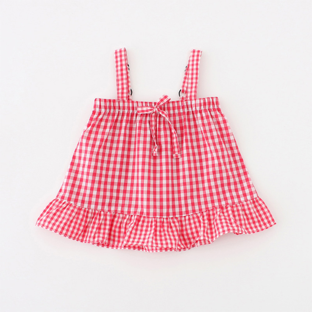 Clearance Lotus Leaf Plaid Baby Girl Dress Bow Slip Dresses For Newborns Princess Birthday Dress Summer Outfit Baby Dress