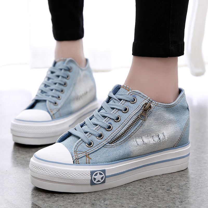 LAKESHI 2018 New Summer Canvas Shoes Woman Thick Bottom Denim Sneakers Fashion Zipper Casual Women Shoes Height Lncrease Shoes