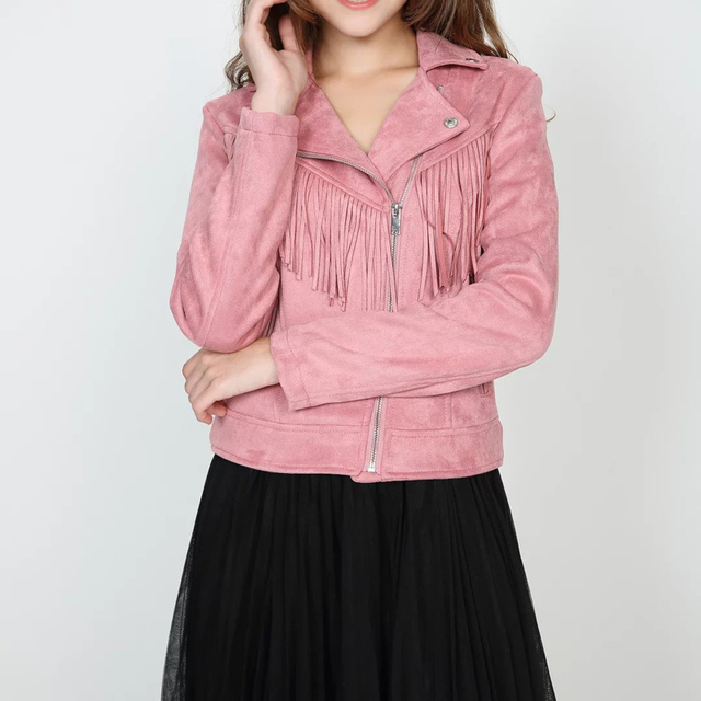 European 2016 Winter Autumn Womens Faux Suede Tassels Jacket Pink Brown Zipper Long Sleeve Slim Ladies Short Coats Clothes
