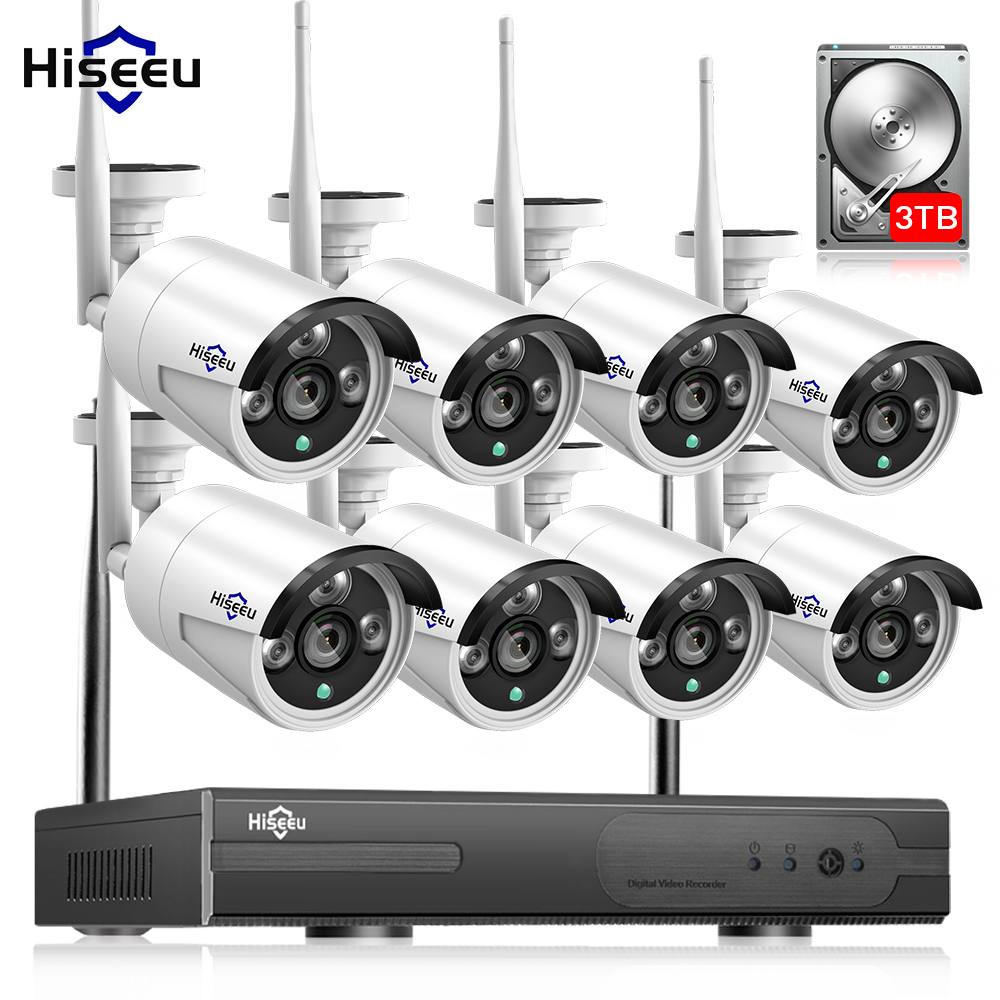 2MP 1080P CCTV System 8ch HD Wireless NVR kit 3TB HDD Outdoor IR Night Vision IP Wifi Camera Security System Surveillance Hiseeu women winter coat jacket 2017 hooded fur collar plus size warm down cotton coat thicke solid color cotton outerwear parka wa892