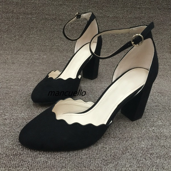 Chic Black Suede Line Buckle Style Block Heel Shoes Classy Ruffle Edge Pointy Shallow Heels Women Comfy Chunky Heel Pumps chic black suede chunky heel platform