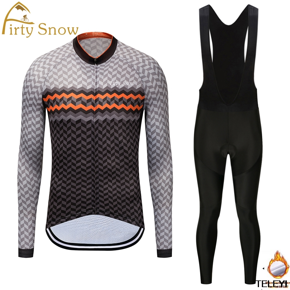 Firty snow Long Set Maillot Ropa Ciclismo Pro Fabric Cycling Suit Winter Thermal Jersey Bike Bicycle Clothing Pants Keep Warm