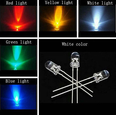 50pcs 5mm LED Light Assorted Kit DIY LEDs Set White Yellow Red Green Blue each=10pcs