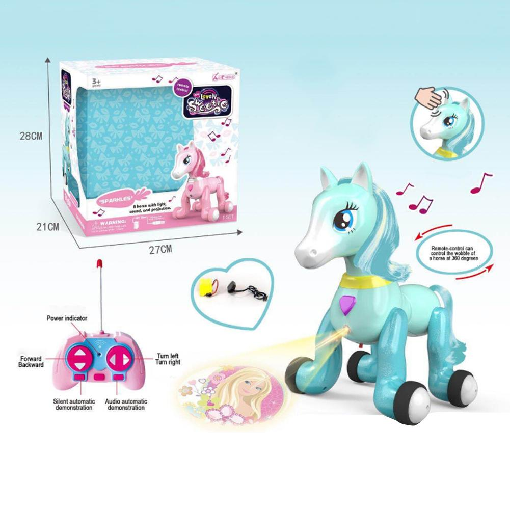 Pony Toy Projection Toy Remote Control Pony With Light Music Touch Sensor Puzzle Remote Control Toy Gifts For Children