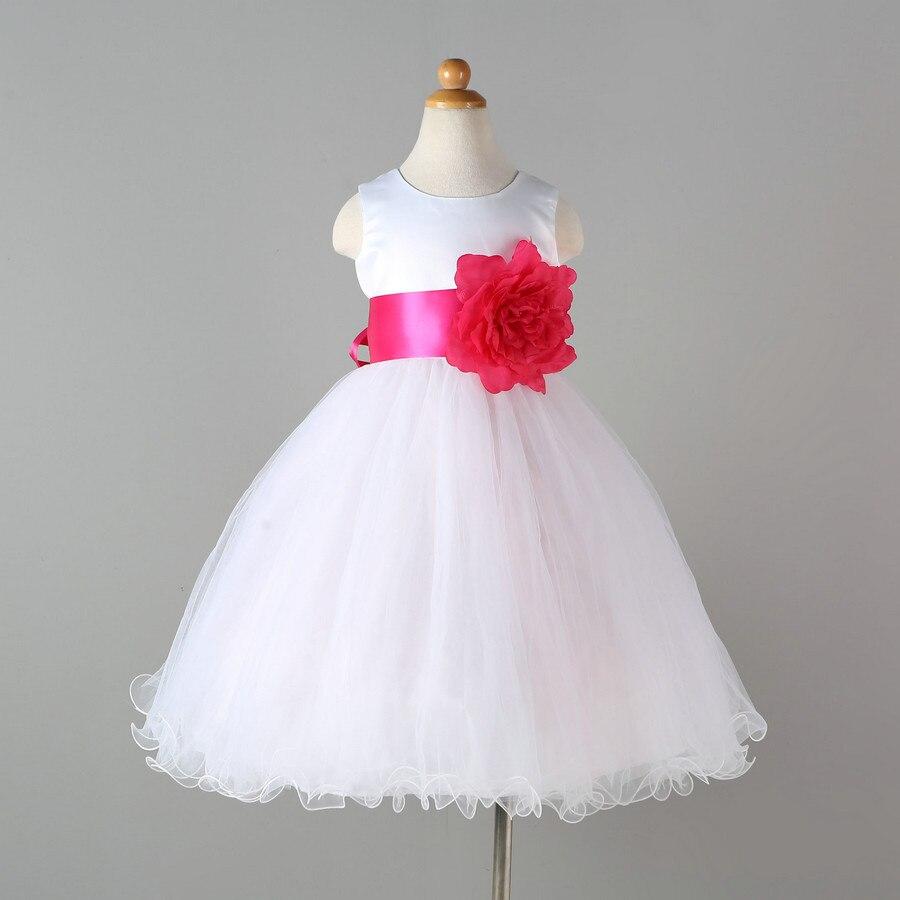 Hohe Qualität Kinder Hochzeitskleid Hersteller Satin und Mesh Weiß ...