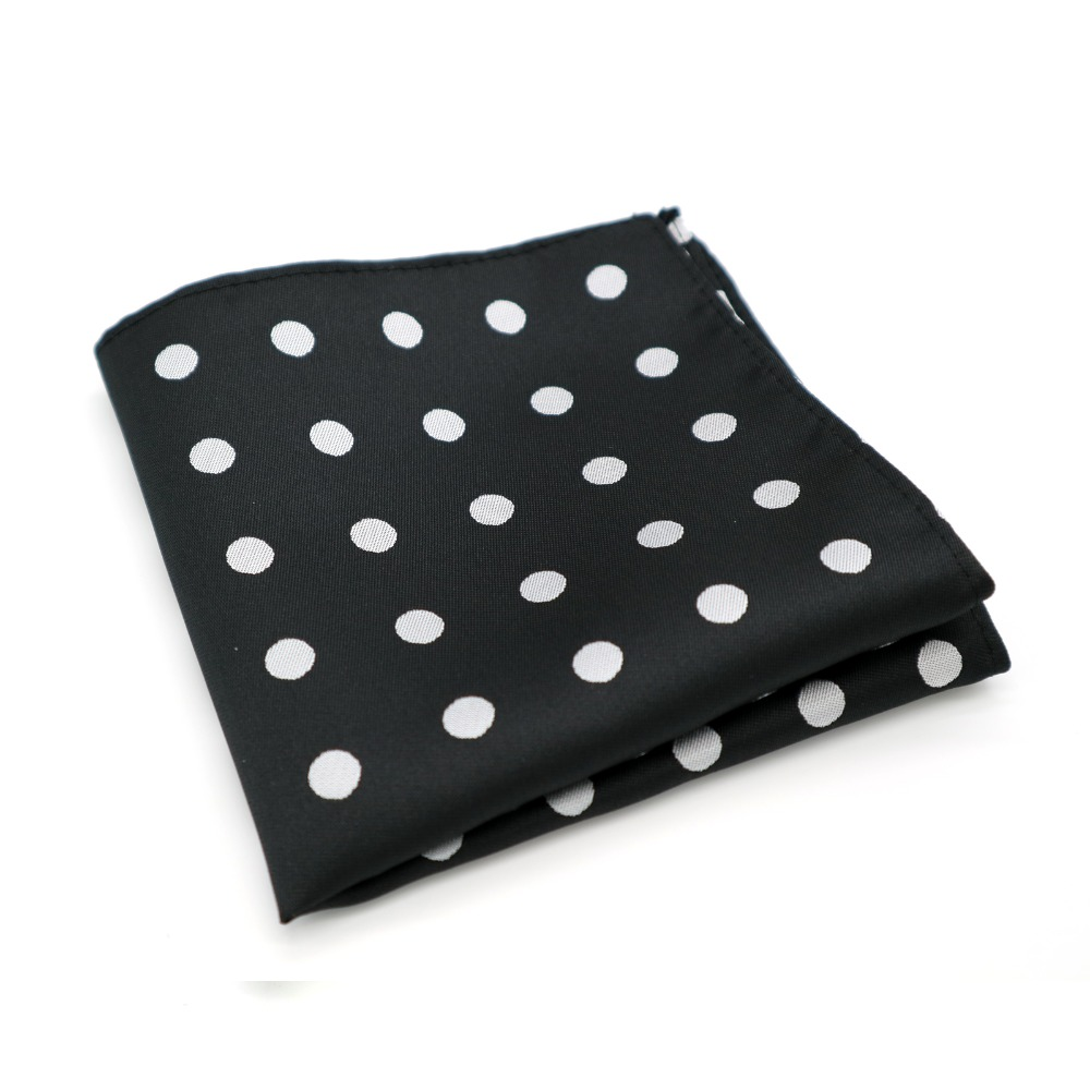 F063 Classic Men's Handkerchief Vintage Silk Woven Hanky Black White Polka Dot Pocket Square 25*25cm Wedding Party Chest Towel