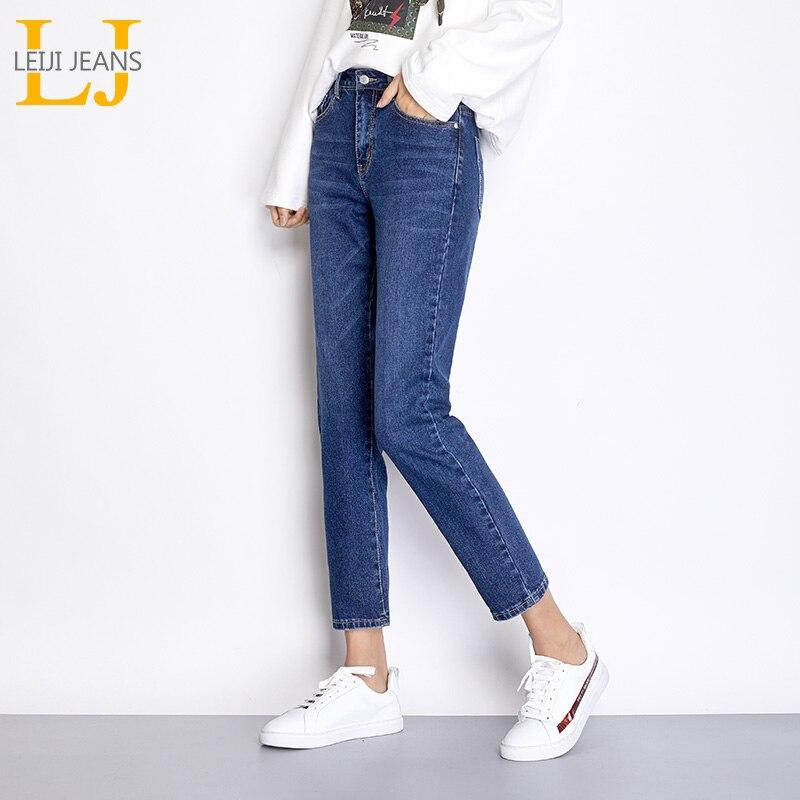 LEIJIJEANS Light Blue Color Plus Size Bleached Cotton loose Denim Mid Waist Full Length Regular Boyfriend   Jeans   for Women 7502