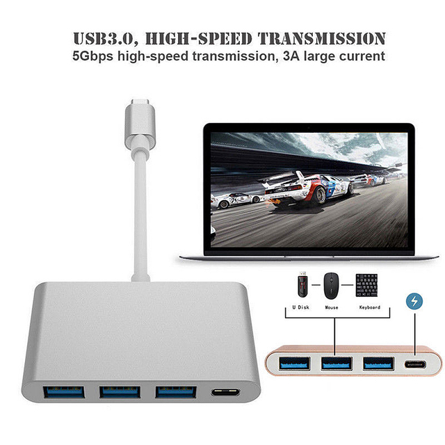 4 in 1 USB 3.0 Hub TYPE-C to HUB3.0 Charger Multiport Thunderbolt Adapter for New Macbook Pro For Dell PC Wholesale 2019 New