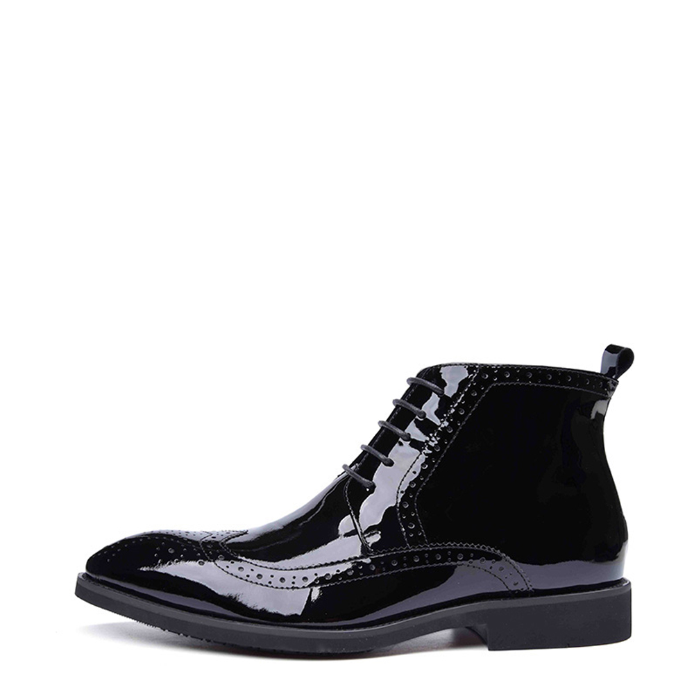 2017 New Mens Patent Leather Boots Lace-up Pointed Toe Men's Leather Shoes Chakku Dress Wedding Oxfords Ankle Boots fashion genuine leather mens ankle boots pointed toe lace up wedding dress shoes safety shoes men military boots mans footwear