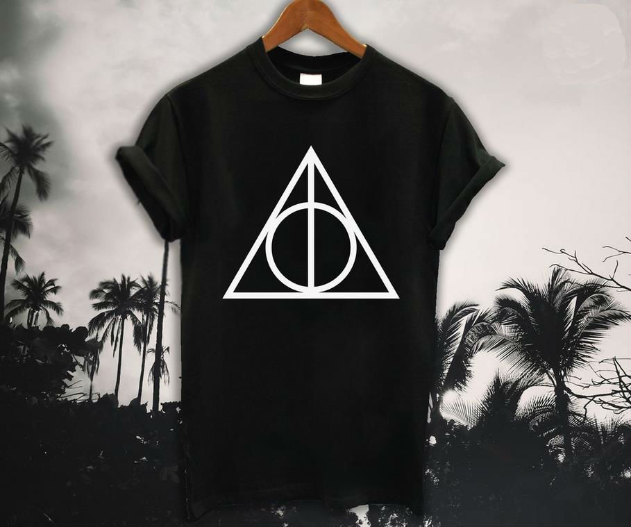 b42f6ce638a New Fashion Deathly Hallows Symbol Logo Triangle T Shirt Cotton HARRY  POTTER Short Sleeve T-shirt ...