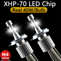 P70 XHP70 Car LED Headlight H4 Hi Lo 55W XHP 70 Chips 6600LM H4 3 High