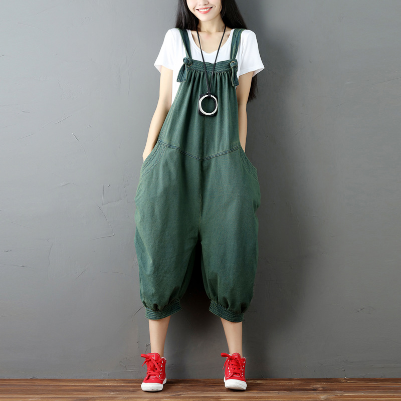 2019 best save up to 60% check out US $35.4 40% OFF|Fashion Casual Denim Jumpsuit Women Overalls Plus Size  Loose Romper Female Suspenders Trousers Drop crotch jogger Dungarees-in ...