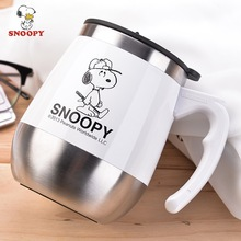 Snoopy 450 ML Becher Kaffeetasse Edelstahl Milch Tee Becher Halten becher Mit Griff Anti-staub Kaffeetassen Dichtung Masse Tee Wasser Flasche