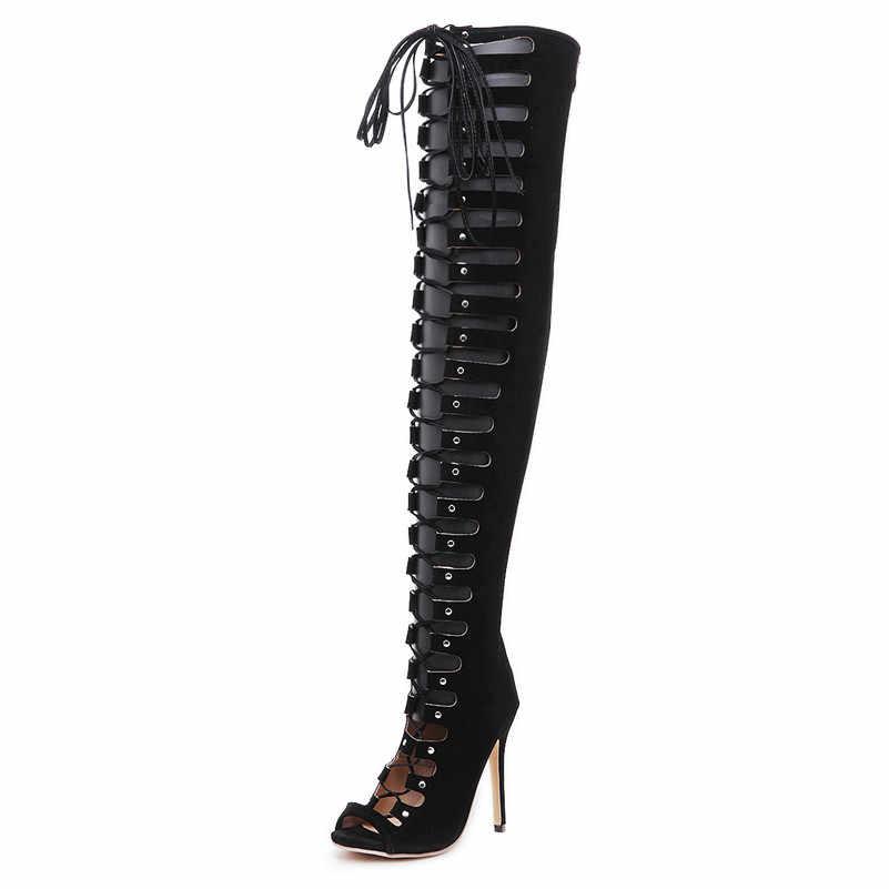 FEDONAS Moda Seksi Kadınlar Diz Üzerinde Yüksek Çizmeler Yüksek Topuklu Çapraz bağlı Yaz Çizmeler Bayanlar Sıkı Yüksek Parti dans ayakkabıları