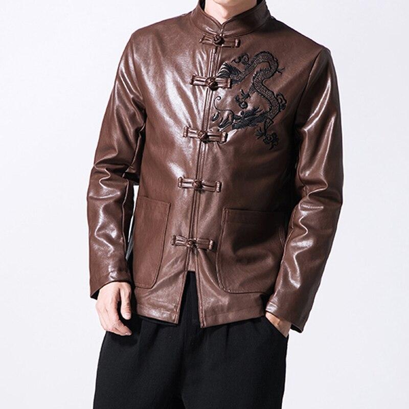 Décontracté hommes costume en cuir vestes Style chinois Tang robe costume en peau de mouton vestes et manteaux pour hommes grande taille 5XL A290