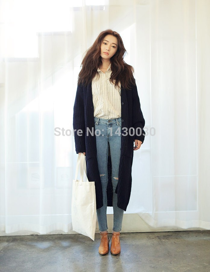 Very Long Cardigans Buttons 2015 Women Fashion Cardigan Plus Size ...