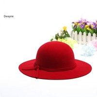 כובע צמר טהור רגיל אלגנטי בציר בריטי נשים מגבעת דלי גדול ברים פדורה כובעי Bbowler Chapeau כובע למבוגרים סתיו החורף כובע