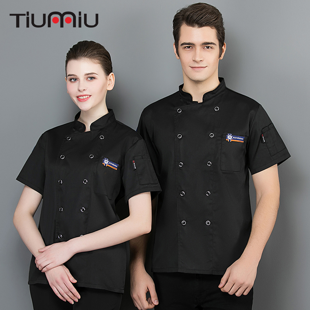 New Arrival Chef Restaurant Hotel Uniform Short Sleeves Breathable Shirts Waiter Work Clothing Overalls Men Women Chef Clothes